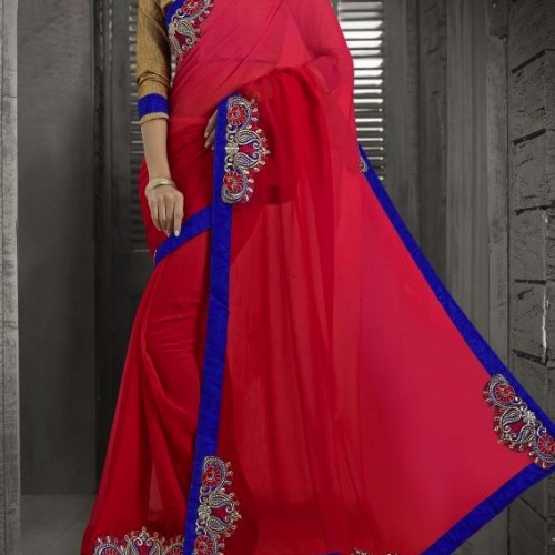 Saree Casual red party wear saree