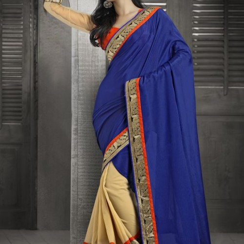 Saree Golden horizon in blue sky party saree