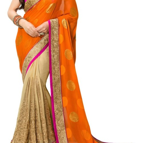 Saree Orange in golden border designer saree
