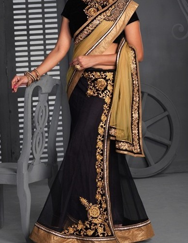 Saree black angel designer lehenga saree