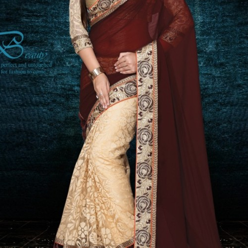 Saree designer maroon half and half