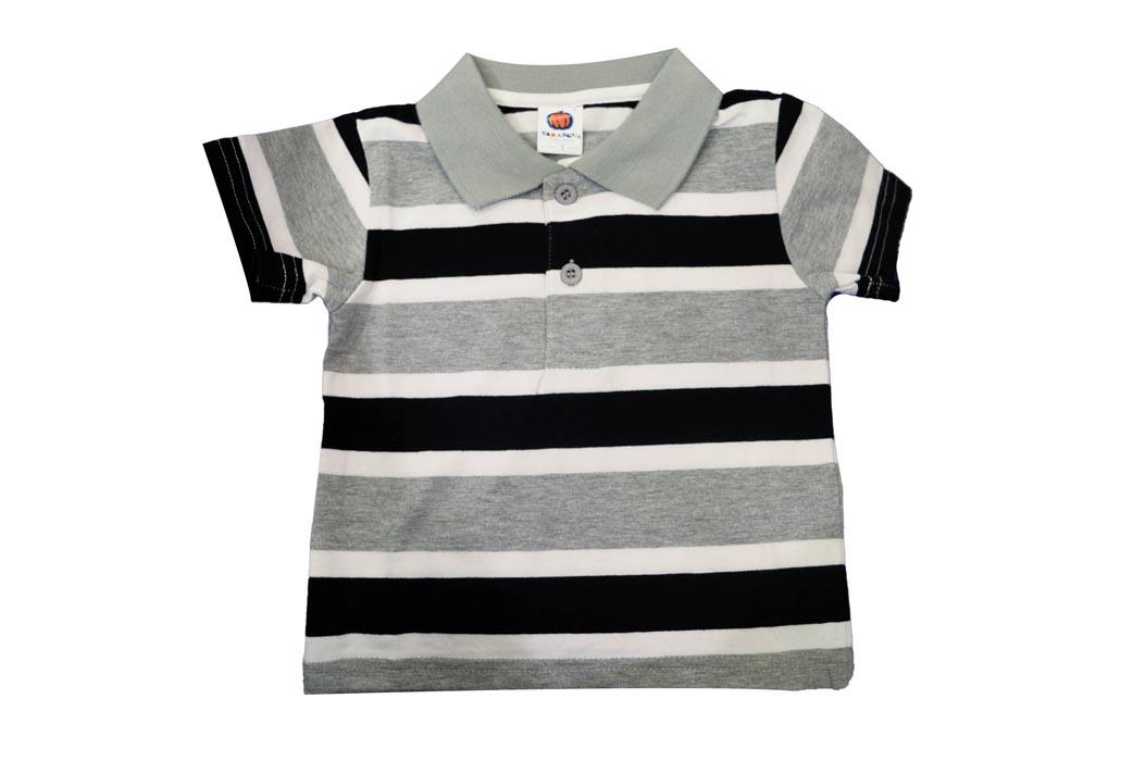 6f0bc8351 Kids Polo T-shirts Striped Design - Grey White Black - KAPADAA.COM