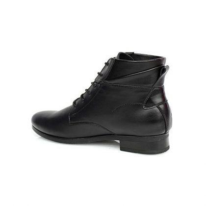 Caliber Men Lace Up Leather Boots - Black