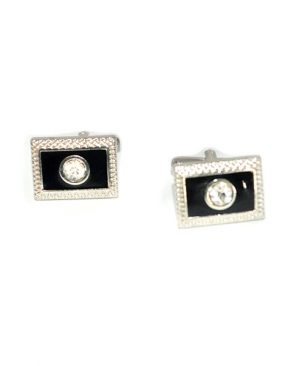 Luxury Rectangular Design Stone Embroider Cufflinks