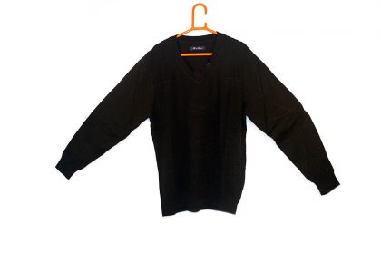 Knitted Design Black Sweater