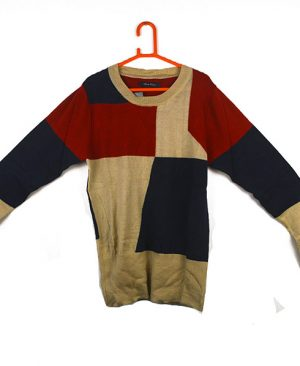 colored-blocked multicolored sweater
