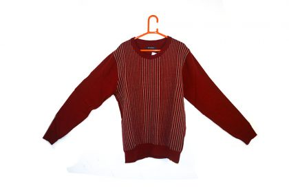 Knitted Design Striped Sweater